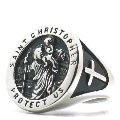 Unisex Saint Christopher Protect Us Cross 316L Stainless Steel Newest Ring - Mirage Novelty World