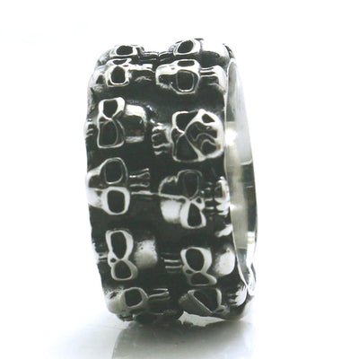 Mens Boys 316L Stainless Steel Cool Silver Punk Gothic Skull Newest Ring - Mirage Novelty World
