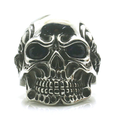 Classic Mens Boys 316L Stainless Steel Cool Blue Stone Eye Flaming Pirate Skull Ring Newest - Mirage Novelty World