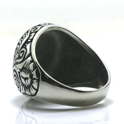 Mens Boys 316L Stainless Steel Fashion Smooth Big Stone Ring Newest - Mirage Novelty World