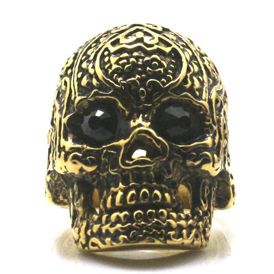 Mens Boys 316L Stainless Steel Black Stone Eyes Flower Skull Ring Newest - Mirage Novelty World