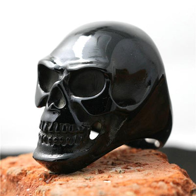 Mens Boys 316L Stainless Steel Punk Gothic Cool Big Polishing Black Skull Ring - Mirage Novelty World