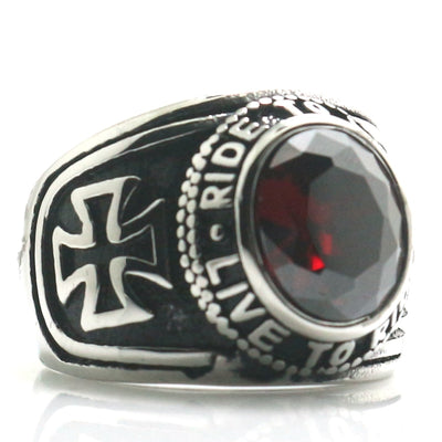 Biker Unisex 316L Stainless Steel Cool Cross Ride To Live, Live To Ride Red Stone Classic Ring For Rider - Mirage Novelty World