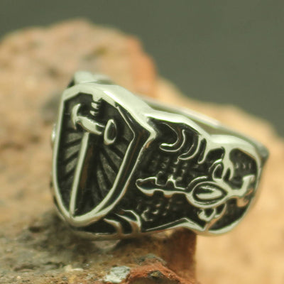 316L Stainless Steel Cool Knight Sword Shield Silver Ring - Mirage Novelty World