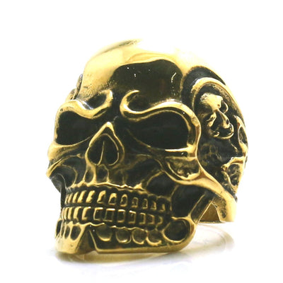 316L Stainless Steel Cool Flaming Skull Pirate Golden Skeleton Classic Biker Ring - Mirage Novelty World
