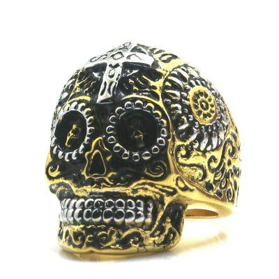 Unisex 316L Stainless Steel Golden & Silver Carved Flower Cross Rock Skull Newest Ring - Mirage Novelty World