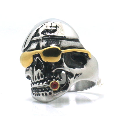 316L Stainless Steel Cool Punk Gothic Golden Red Stone Biker Smoker Classic Ring - Mirage Novelty World