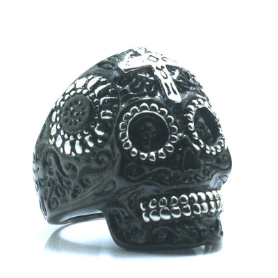 Unisex 316L Stainless Steel Black & Silver Carved Flower Cross Rock Skull Newest Ring - Mirage Novelty World
