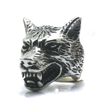 Mens Boys 316L Stainless Steel Wolf Silver Ring - Mirage Novelty World