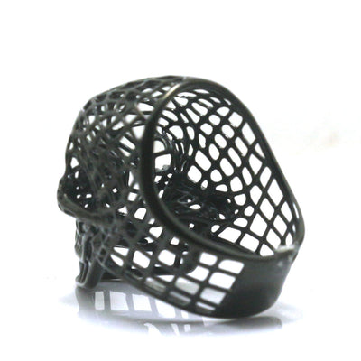 Mens Boys 316L Stainless Steel Punk Gothic Cool Hollow Out Fashion Black Skull Ring - Mirage Novelty World