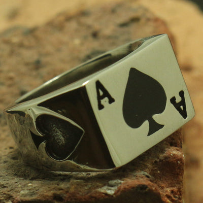 Cool 316L Stainless Steel Polishing Silver Poker Ace Good Party Ring Gift For Friend - Mirage Novelty World