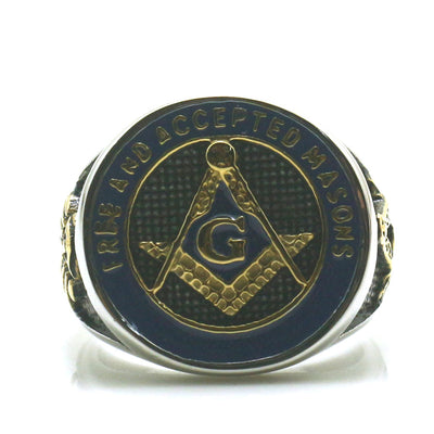 Mens Boys 316L Stainless Steel Cool A member of the free and accepted masons Golden Blue Ring - Mirage Novelty World