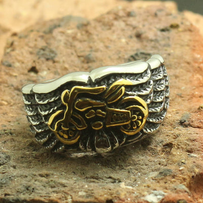 316L Stainless Steel Cool Angle Wing Golden Motorcycle Biker Amazing Ring - Mirage Novelty World
