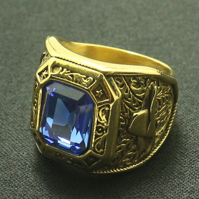 Cool Blue Stone Ring Men Boys 316L Stainless Steel Golden Cowboy Rhinoceros Horn Ring Great Gift For Friend - Mirage Novelty World