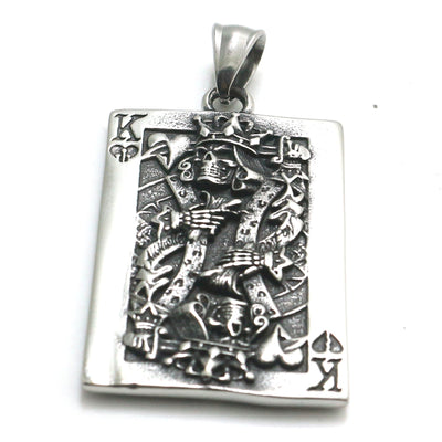 Mens Boys 316L Stainless Steel Cool Lucky Poker King Pendant Newest - Mirage Novelty World