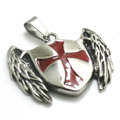 Mens Boys 316L Stainless Steel Cool Angle Wing Templar Knights Classic Pendant - Mirage Novelty World