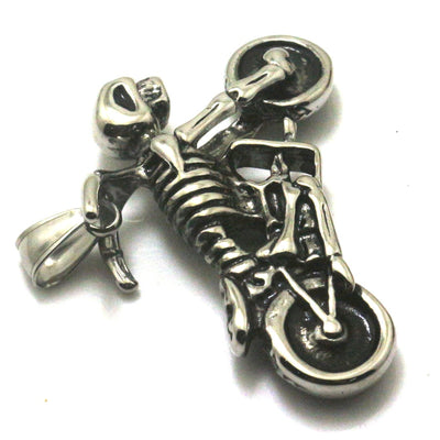 Men 316L Stainless Steel Cool Biker Motorcycle Skull Rider Silver Pendant Newest Gift - Mirage Novelty World