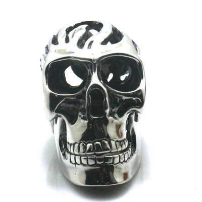 Men Boy 316L Stainless Steel Cool Hollow Out Flaming Biker Big Skeleton Silver Pendant Neacklace Chain - Mirage Novelty World