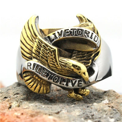 Hot 316L Stainless Steel Silver Golden Biker Eagle Ring Mens Motorcycle Biker Eagle Band Party Ring Cool - Mirage Novelty World