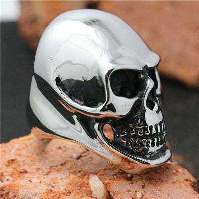 316L Stainless Steel Cool Silver Big Skull Newest Design Ring - Mirage Novelty World
