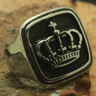 Cool Polishing Silver Squar Crown Ring Men Boy 316L Stainless Steel Rock Party Best Gift - Mirage Novelty World