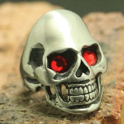 Mens boys 316L Stainless Steel Biker 4 Color Stone Eye Dull Polishing Silver Skull Ring - Mirage Novelty World
