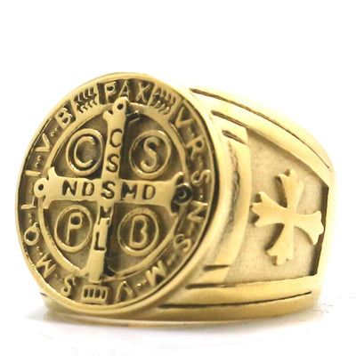 No Black Oil Newest Style Men CSPB CSSML NDSMD Saint Benedict of Nursia Catholic Ring - Mirage Novelty World