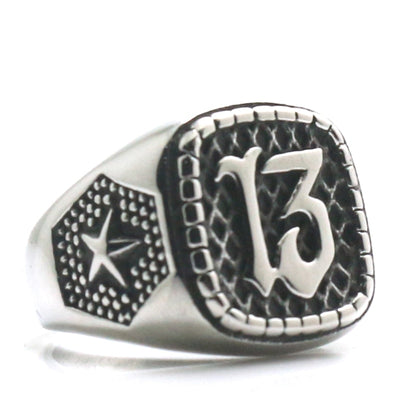 Mens 316L Stainless Steel Cool Silver 13 Star Punk Gothic Ring Newest - Mirage Novelty World