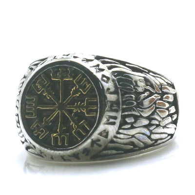 316L Stainless Steel Northern Europe Vikings Vintage Silver Golden Ring - Mirage Novelty World