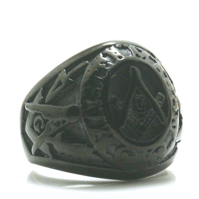 Mens Boys 316L Stainless Steel Cool Silver Punk Gothic Classic Black Freemasons Ring - Mirage Novelty World