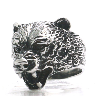 Mens 316L Stainless Steel Cool Bear Viking Punk Ring - Mirage Novelty World