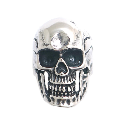 Mens 316L Stainless Steel Cool Silver Cool Classic Newest Biker Punk Gothic Skull Ring - Mirage Novelty World