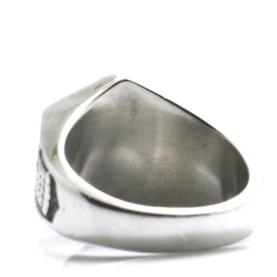Mens 316L Stainless Steel Cool Silver Arrow Vintage Ring - Mirage Novelty World