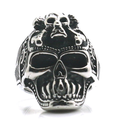 Mens 316L Stainless Steel Cool Terminator Skull Classic Biker Ring - Mirage Novelty World