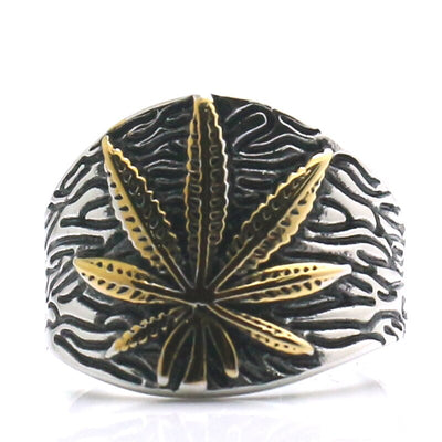Mens 316L Stainless Steel Cool Golden Silver Coconut Leaves Classic Ring - Mirage Novelty World