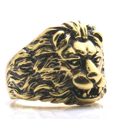 Mens 316L Stainless Steel Cool Classic Lion King Ring - Mirage Novelty World