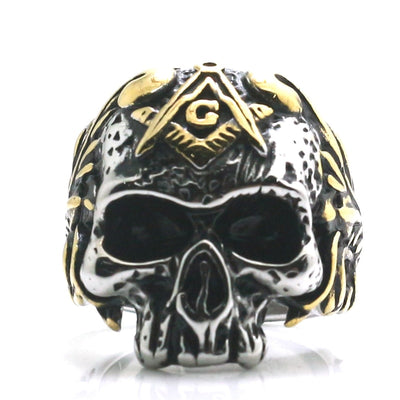 Mens 316L Stainless Steel Cool Silver Golden Big Skull Freemasons Newest Ring - Mirage Novelty World