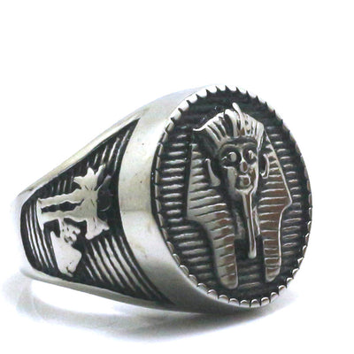 316L Stainle Steel Punk Gothic Cool Pharaoh Silver Cool Ring - Mirage Novelty World