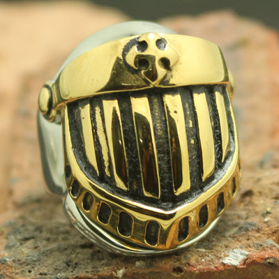 Mens Boys 316L Stainless Steel Cool Warrior Soldiers Golden Helmet Newest Ring - Mirage Novelty World