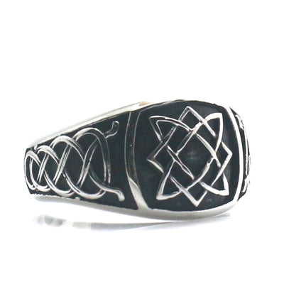 "316L Stainless Steel Cool Vikings Slavic ""star of all"" Amulet Ring - Mirage Novelty World"
