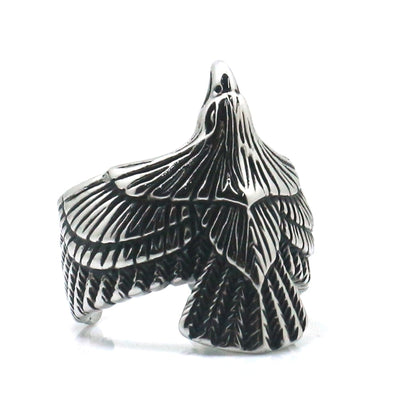 316L Stainless Steel Cool Punk Gothic Silver Eagle Biker Ring - Mirage Novelty World