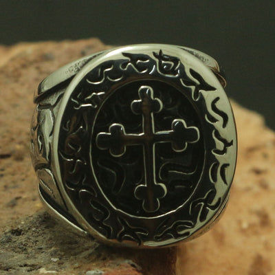 Cool 316L Stainless Steel Round Cross Ring Rock Party Ring Music Festival Sports Good Gift For Friend Unisex - Mirage Novelty World