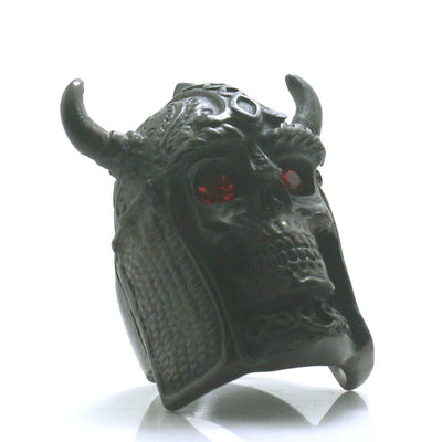 316L Stainless Steel Big Skull Red Stone Eye Northern Europe Vikings Black Ring - Mirage Novelty World