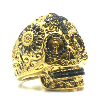 Unisex 316L Stainless Steel Cool Flower Cross Golden Black Skull Ring - Mirage Novelty World