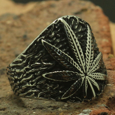 Cool Maple Leaves Silver Ring Men Boy 316L Stainless Steel Party Best Gift Band Biker - Mirage Novelty World