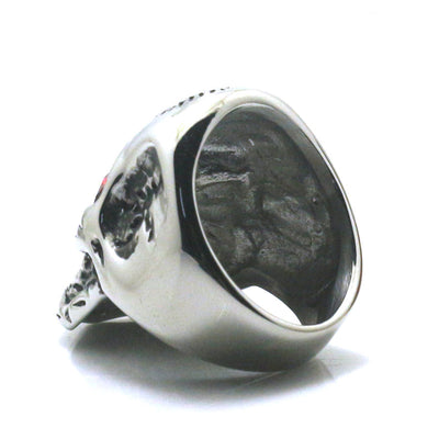 316L Stainless Steel Red Stone Eyes Big Skull Ring Newest - Mirage Novelty World