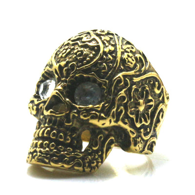 Mens Boys 316L Stainless Steel Clarity Stone Eyes Flower Skull Ring Newest - Mirage Novelty World