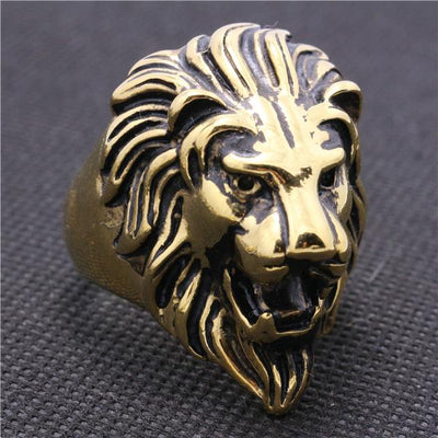 316L Stainless Steel Punk Gothic Cool Golden Lion King Head Hot Ring - Mirage Novelty World