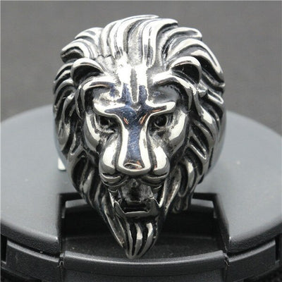 316L Stainless Steel Punk Gothic Cool  Silver Lion King Head Hot Ring - Mirage Novelty World