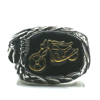 Mens Boys 316L Stainless Steel Eagle&Motorcycle Rider Ring Newest - Mirage Novelty World